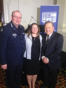 Victoria Police Chief Graham Ashton, Crime Stoppers CEO Sam Hunter, Channel 9 's Peter Hitchener