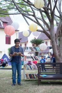 Mencanangkan kegiatan membaca (foto: Rumata' Artspace/MIWF)