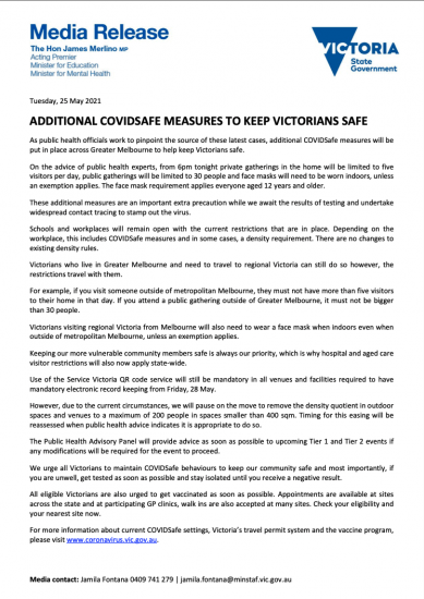 ADDITIONAL COVIDSAFE MEASURES TO KEEP VICTORIANS SAFE